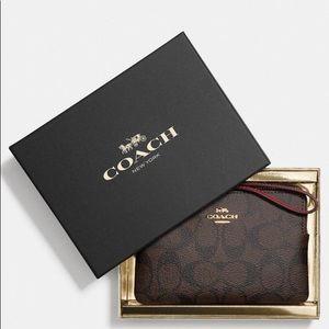 Coach signature wristlet purse clutch  in gift box